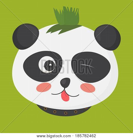 Vector illustration: cute punk panda with a mohawk hairstyle also called mohican or iroquois haircut. Punk panda bear character made in a cartoon style.