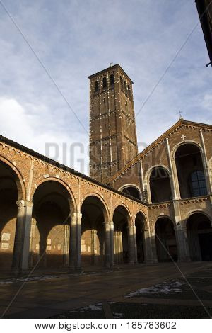 Milan, Basilica of Sant`Ambrogio, the hut façade with the entrance portico.