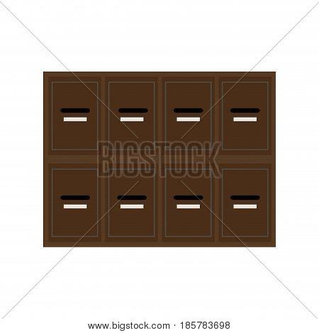 locker wooden mailboxes postal for keep your information vector illustration