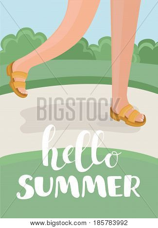 Vector cartoon illustration of funny feet in sandals walking in summer park lane. Hello summer design concept.