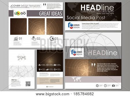 Social media posts set. Business templates. Easy editable abstract flat design template, vector layouts in popular formats. Alchemical theme. Fractal art background. Sacred geometry. Mysterious relaxation pattern.