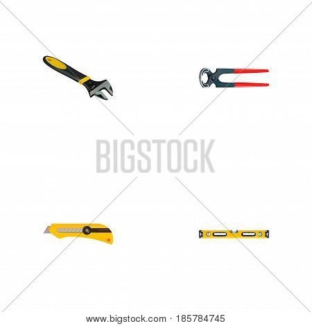 Realistic Wrench, Plumb Ruler, Stationery Knife And Other Vector Elements. Set Of Kit Realistic Symbols Also Includes Tongs, Stationery, Cutter Objects.