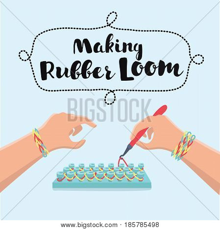Vector cartoon illustration of hand if little girl making a rubber loom bracelet with a hook . Hands close up. Young fashion concept
