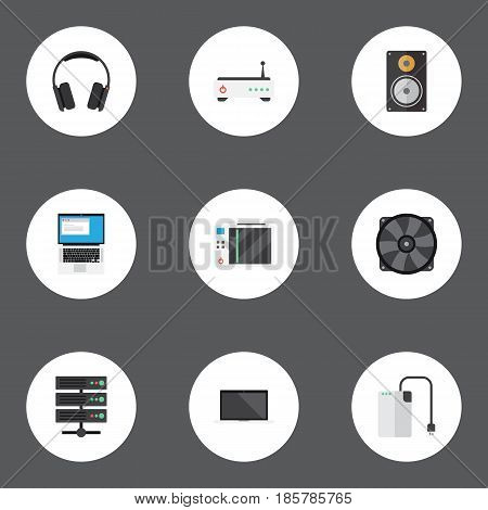 Flat Cooler, Amplifier, Datacenter And Other Vector Elements. Set Of PC Flat Symbols Also Includes PC, Fan, Game Objects.