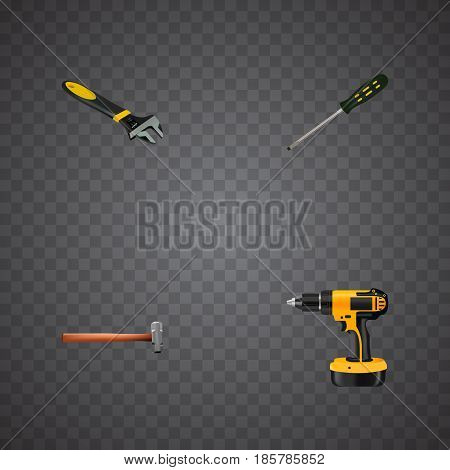 Realistic Carpenter, Wrench, Handle Hit Vector Elements. Set Of Instruments Realistic Symbols Also Includes Electric Screwdriver, Sledgehammer, Carpenter Objects.