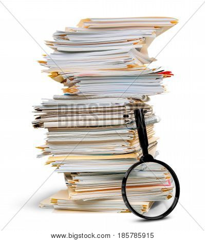 Stack of Documents / Files with Magnifying Glass