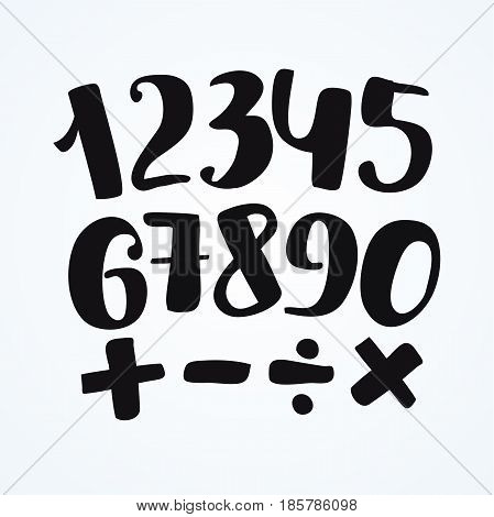 Numbers set in hand drawn style. Vector design template elements of addition, subtraction, division, multiplication.