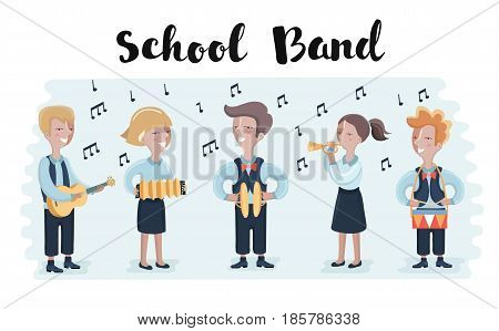 Group Of Students Playing In School Orchestra Together. Group of children play musical instruments. Trumpet, drums, accordion, cymbals, brass