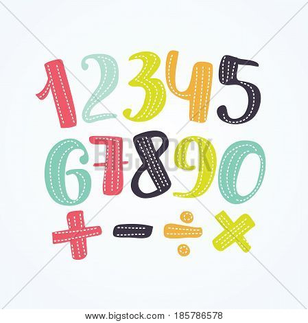 Vector illustration of colorful numbers set signs of addition, subtraction, division, multiplication.