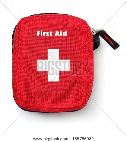 Top view of first aid kit bag isolated on white