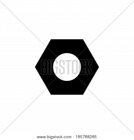 Screw and hex nut solid icon, build repair elements, construction tool, a filled pattern on a white background, eps 10.
