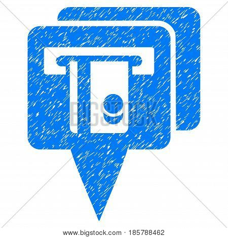 Grunge ATM Pointers icon with grunge design and dirty texture. Unclean vector blue pictogram for rubber seal stamp imitations and watermarks. Draft sticker symbol.