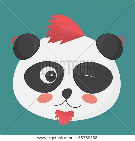 Vector illustration: cute winking punk panda with a punk haircut. Panda bear character made in a cartoon style.