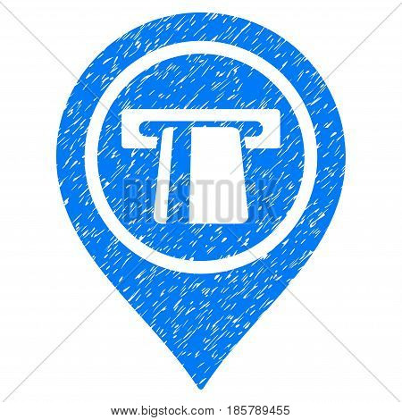 Grunge Bank Machine Pointer icon with grunge design and dust texture. Unclean vector blue pictogram for rubber seal stamp imitations and watermarks. Draft sticker symbol.