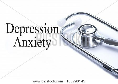 Page with Depression Anxiety on the table with stethoscope medical concept.