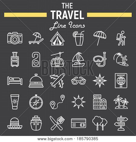 Travel line icon set, tourism symbols collection, transportation vector sketches, logo illustrations, linear pictograms package isolated on black background, eps 10.