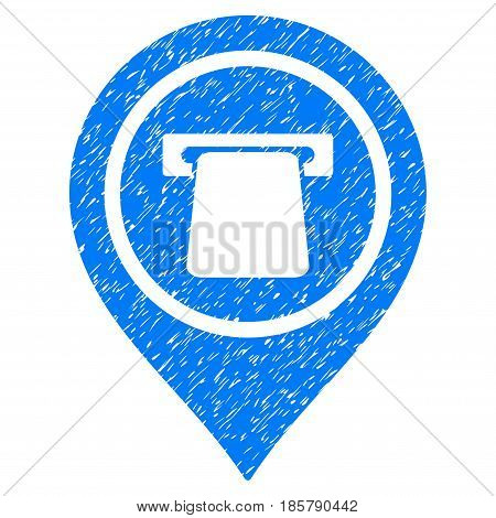 Grunge Bank Terminal Pointer icon with grunge design and dirty texture. Unclean vector blue pictogram for rubber seal stamp imitations and watermarks. Draft sticker symbol.
