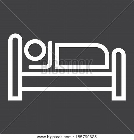 Person in bed and Hotel line icon, Travel and tourism, motel vector graphics, a linear pattern on a black background, eps 10.