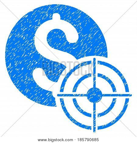 Grunge Business Target icon with grunge design and dust texture. Unclean vector blue pictogram for rubber seal stamp imitations and watermarks. Draft sign symbol.