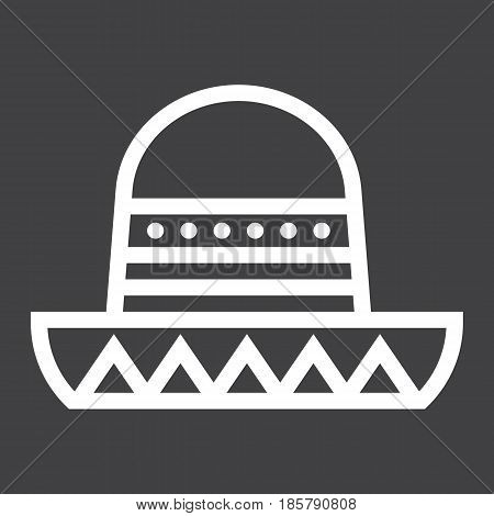 Sombrero Mexican hat line icon, Travel and tourism, vector graphics, a linear pattern on a black background, eps 10.