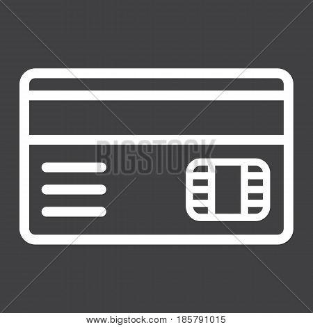 Credit card line icon, bank and business, vector graphics, a linear pattern on a black background, eps 10.