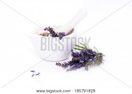 lavender flowers, lavander extract and montar with dry flowers isolated on white.