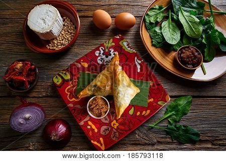 Spinach and cheese Briouat Moroccan recipe  filo pastries parcels