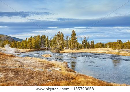 Autumn Landscape In Yellowstone National Park, Wyoming, Usa