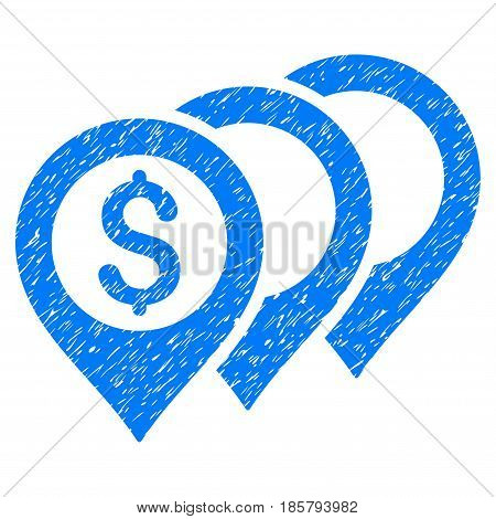 Grunge Dollar Map Pointers icon with grunge design and unclean texture. Unclean vector blue pictogram for rubber seal stamp imitations and watermarks. Draft sticker symbol.