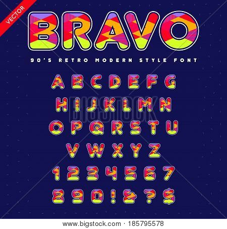 80's - 90's Style Alphabet. Colorful Bright Font Set. Vector.