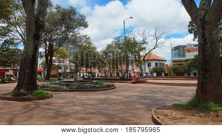 Bogota, Cundinamarca / Colombia - April 7 2016: View of central park of Usaquen. Usaquen is a residential and commercial district in northern Bogota, capital of Colombia