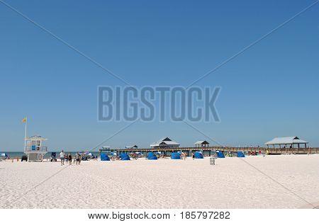 Clearwater Beach Florida USA - November 8 2013 : Pier 60 Clearwater Beach Florida