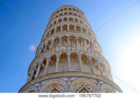 The Leaning Tower of Pisa on a sunny beautiful blue-skied day in Pisa, Italy