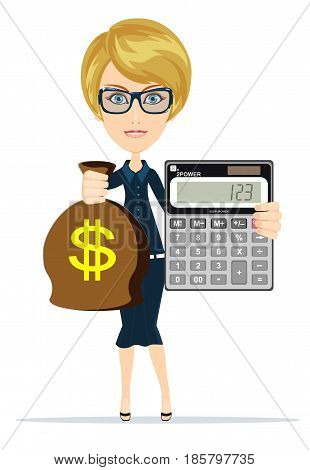 Woman holding a money bag and electronic calculator. Stock vector illustration for poster, greeting card, website, ad, business presentation, advertisement design.