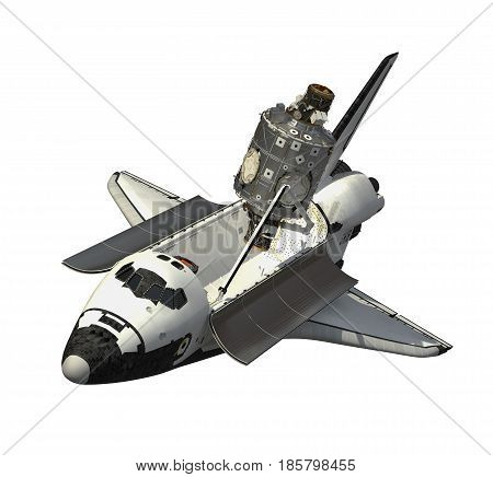 Space Shuttle And Module Of Space Station. 3D Illustration.