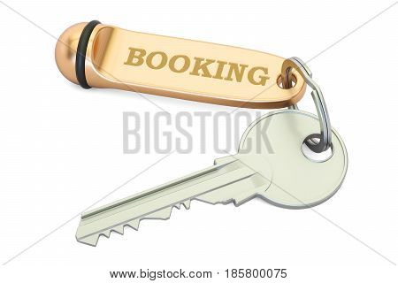 Booking concept hotel key with keychain. 3D rendering