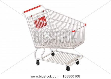 empty shopping cart 3D rendering isolated on white background
