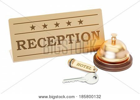 Hotel key and reception bell with reception plate 3D rendering isolated on white background