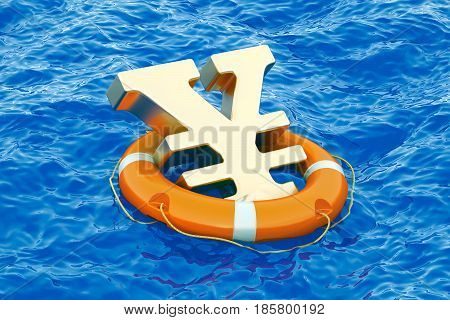 Lifebuoy with golden yen or yuan symbol on the open sea 3D rendering poster