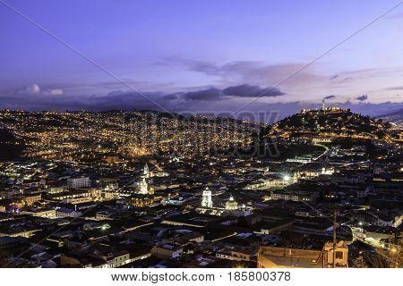 Quito Ecuador panorama view shown at twilight