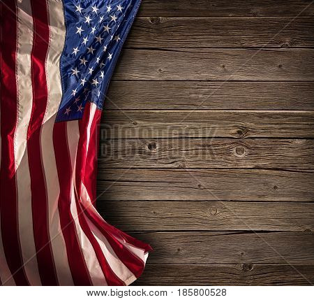 Patriotic American Celebration - Aged Usa Flag On Vintage Wood