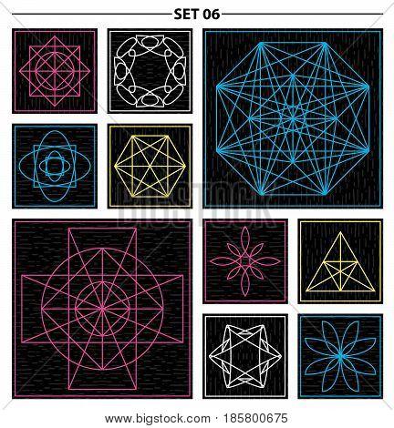 Set of geometric and floral linear monogram design. Line art elements. Vector illustration