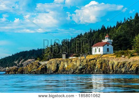 Burrows Island Lighthouse taken from Rosario Straights, San Juan Islands, WA