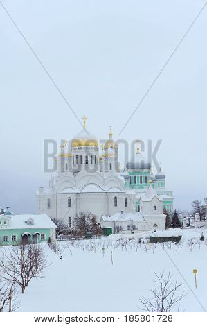 Diveyevo, Russia. - December 25.2016 The Transfiguration Cathedral in Diveevo Convent