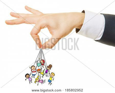 Hand holding hanging kids from rope as control concept