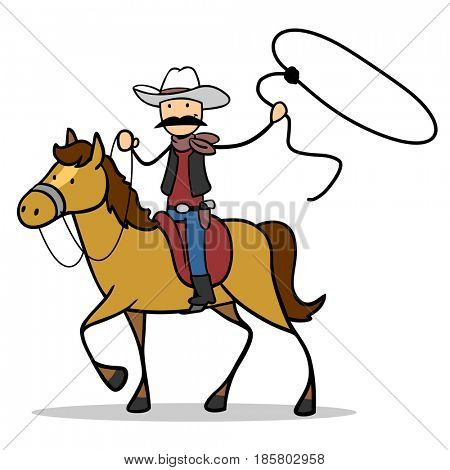 Man as rodeo cowboy riding horse with lasso or rope