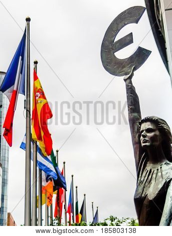 View on Euro sculpture in Brussels - Belgium