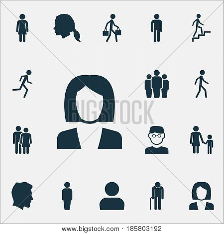Human Icons Set. Collection Of Female, Businesswoman, Gentlewoman Head And Other Elements. Also Includes Symbols Such As Profile, Male, Delivery.