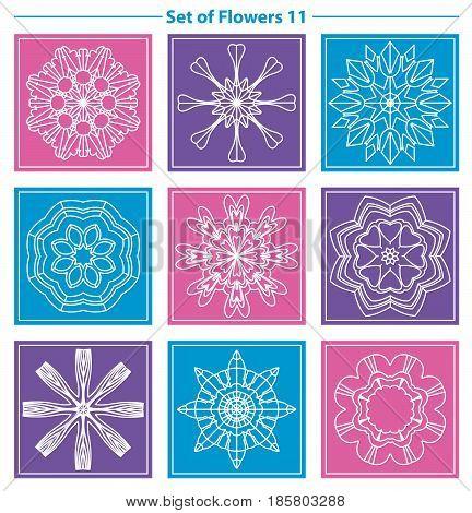 Set of geometric and floral linear monogram design on color background. Line art elements. Vector illustration