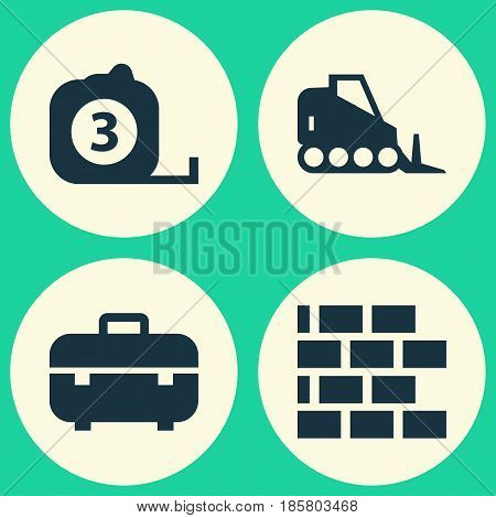 Architecture Icons Set. Collection Of Tractor, Wall, Measure Tool And Other Elements. Also Includes Symbols Such As Case, Tractor, Bulldozer.